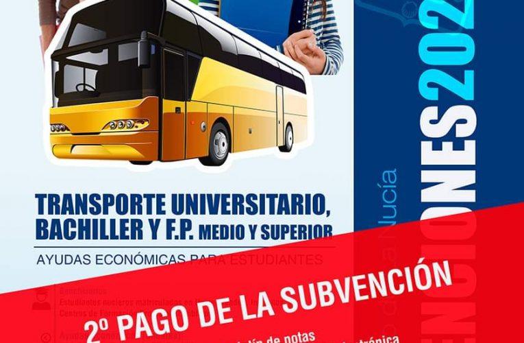 El 15 de septiembre finaliza el plazo para el 2º Pago de laSubvención de Transporte